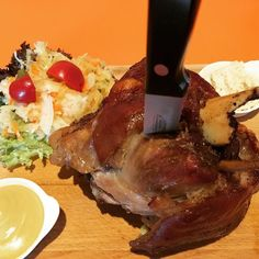 Traditional Czech pork knuckel Pečené vepřové koleno. Prague Czech Republic.  #prague #czechrepublic #travelfood #koleno #pork #knife by street.foodies Foodies, Instagram, Prague