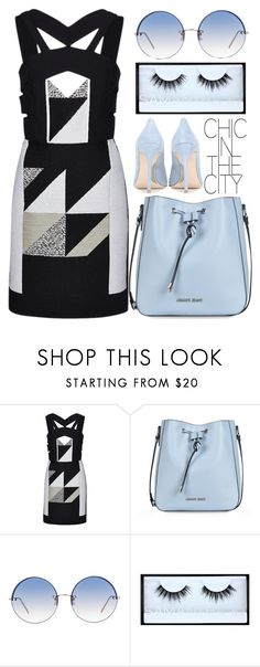 """""""#344 Geometric"""" by mayblooms ❤ liked on Polyvore featuring Roland Mouret, Armani Jeans, Linda Farrow, Huda Beauty, Miu Miu and PROMNIGHT"""