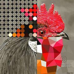 """Serie Pop Art """" Cocorico """" (Arts numériques), 60x60x0,3 cm par vincent oriol """" Le coq, emblème sportif français, est aussi un symbole universel, un porte-bonheur, un prophète guérisseur, il incarne souvent le courage, l'intelligence, et on l'associe volontiers à la résurrection """" Artiste Vincent Oriol Un style Pop Art contemporain. Résolution 300 dpi Afin d'être une oeuvre originale, elle est éditée et signée en 7 exemplaires maximum FORMAT : 60x60 CHOIX DU PAPIER / SUPPORT : HAHNEMÜHLE ..."""