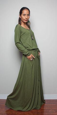 Green Maxi Dress  Long Sleeve Dress  Autumn Thrills by Nuichan, $59.00