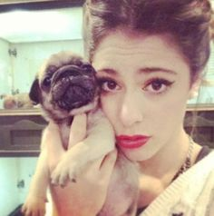 Martina en een van haar pups