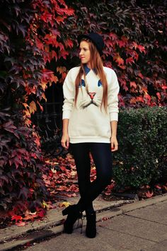 Oversized Cat Graphic Sweater - Sweatshirts & Hoodies - Tops - Clothing