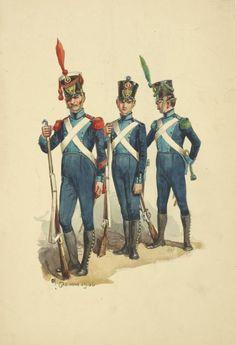 Granatiere, fuciliere e Volteggiatore della fanteria di linea del regno di Napoli