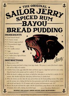 Bayou Bread Pudding - hands down the best spiced rum. Can't be bad in bread pudding either. Rum Recipes, Pudding Recipes, Sweet Recipes, Dessert Recipes, Cooking Recipes, Margarita Recipes, Recipies, Bread Recipes, Sailor Jerry Rum