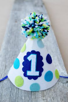 1st Birthday Party Hat Boys and Girls First by LaLaLolaShop