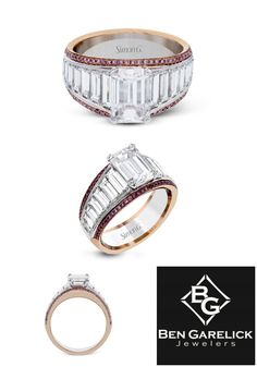 Breathtaking Simon G. Diamond Engagement Ring in 18K White and Rose Gold Featuring White and Pink Diamonds. See it at BenGarelick.com