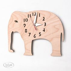 Introducing the 'Big Birch Elephant' clock by LeLuni. This clock is made of a light weight laser cut birch veneer plywood that has been conditioned, sanded, and hand-finished in beeswax. Veneer Plywood, Wooden Clock, Kids Corner, Cool Gifts, Cool Furniture, Wall Mount, Home Accessories, Designer, Decoupage
