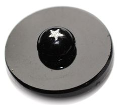 Old Black Glass with Embedded Star Foil Button - Medium by KPHoppe on Etsy