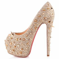 Christian Louboutin Highness 160mm Strass Pumps Gold,Red Bottom Shoes