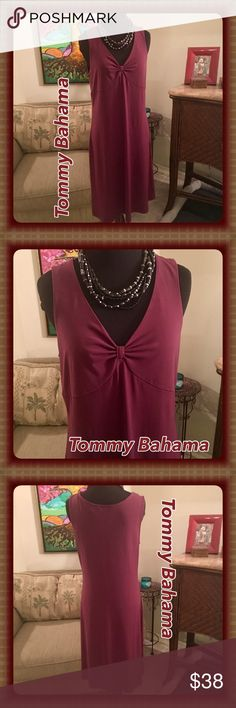 Tommy Bahama Sleeveless V-Neck Knee Length Dress Like New! Tommy Bahama Sleeveless V-Neck dress. Cranberry/Maroon color. Gathers at the bust, giving this dress a nice flow! Belt not included, was just showing different ways to wear it. This hits at or right below knee level on me (I'm 5'6). Will update with measurements. Such a great dress that you can dress up or down! Tommy Bahama Dresses Midi