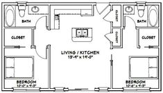 2 Bedroom Floor Plans, Garage Floor Plans, Small House Floor Plans, Barn House Plans, Cabin Plans, Shed Plans, 2 Bedroom Apartment Floor Plan, Condo Floor Plans, House Layout Design
