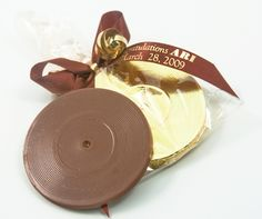 Chocolate Record Favors for a Music Theme Bar Mitzvah Party from Cool Party Favors - mazelmoments.com