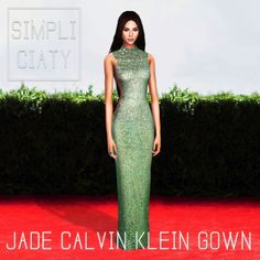 Jade Calvin Klein Gown (TS4)Dress worn by Kendall Jenner at the 2015 MET Gala! [x] It comes in 10 colors :) (yes, I used the same pic from my edit, just changed the background, i'm that lazy...