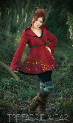 Alternative Clothing - Autumn Tree Short Tournedot Fleece Jacket - Alienskin Clothing: Hand made