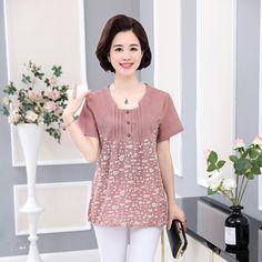 NIFULLAN Bumbac Lenjerie de mână cu mânecă scurtă Pulover Print Print Femei Tricou Casual Loose T-Shirt Vară Plus Dimensiune Mame Haine T-Shirt de Top-în T-Shirts de la Imbracaminte pentru femei & Accesorii pe Aliexpress.com | Grupul Alibaba