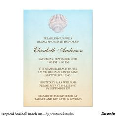 Tropical Seashell Beach Bridal Shower Custom Announcements