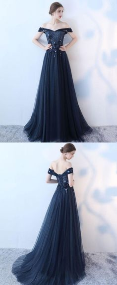 Blue lace tulle long prom dress, lace evening dress