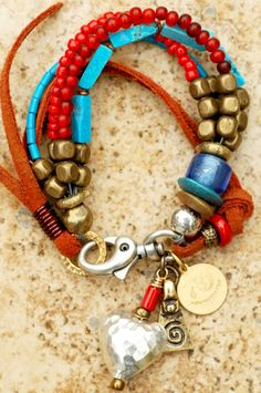 Heart Charm Bracelet: Turquoise, Red Glass, Brass, Leather and Silver Heart Charm Bracelet - Get Your Custom Heart Charm Bracelet - Only $95