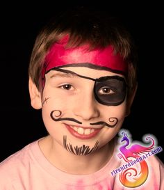 You can't go wrong with a classic pirate face painting, which happens to be great for boys AND girls!  This quick and simple design is perfect for younger kids who can't sit still long.  #firebirdbodyart