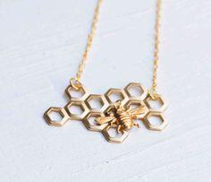 Honey Bee Honeycomb Necklace Beekeeper
