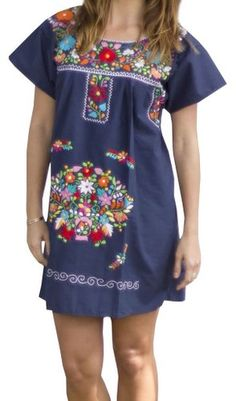 Liliana Cruz Embroidered Mexican Peasant Mini Dress at Amazon Women's Clothing store: