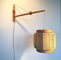 Wall Lamp in Oak Twine and Wicker Designed by Kaare by Deerstedt