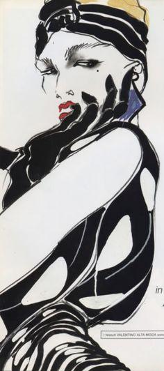 Tony Viramontes (1956-1988, American), March 1984, Valentino  S/S  ad campaign, Vogue Italia. #Viramontes #Fashion #Illustration