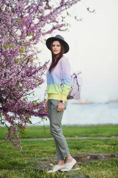 #pastel #sweater #sheinside #backpack #hat #fashion #style #outfit #fashionblogger #brogues #inspiration