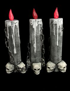 """Gothic 16"""" SKULL 3-CANDLE LAMP LIGHT w/CHAIN SET~Halloween Party Prop Decoration 