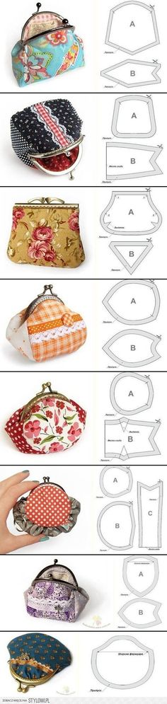 ✄ DIY - cute purses with lovely fabric, nice project for the girls :) Sewing Hacks, Sewing Tutorials, Sewing Patterns, Bag Tutorials, Bag Patterns, Tote Pattern, Coin Purse Pattern, Tutorial Sewing, Apron Patterns