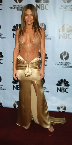 Vanessa Marcil at NBC Awards in revealing gold dress