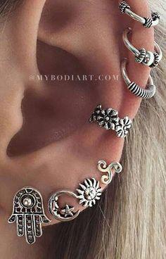 Boho Multiple Ear Piercing Ideas in Antiqued Silver Ear Cuff Earrings Ring Flowe. Fake Gauge Earrings, Red Earrings, Cuff Earrings, Crystal Earrings, Clip On Earrings, Silver Jewelry Box, Ear Jewelry, Jewellery, Silver Bracelets