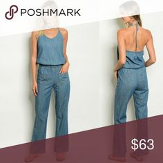 ✨NWT Blue Chambray Denim Jumpsuit✨FIRM Such a cute staple outfit for your wardrobe!! 😍   NWT  100% cotton Tops