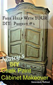 "Serendipity Refined: Free Help with YOUR DIY Project Nancy's Chalk Painted Cabinet Makeover *great examples of simple ""how-to"" and of color difference once wax is applied. Chalk Paint Cabinets, Chalk Paint Furniture, Painting Cabinets, Home Decor Furniture, Furniture Makeover, Cool Furniture, Furniture Ideas, Refinished Furniture, Furniture Repair"