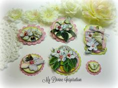 Chic Spring Pink Handmade Paper Flowers, Paper Embellishments for Scrapbooking Cards Mini Albums Tags Altered Art and Papercrafts by mydivineinspiration on Etsy