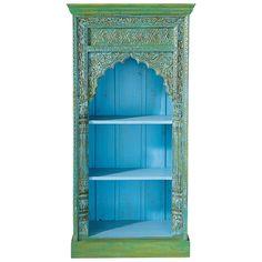 Groene massief mangohouten Indische boekenkast B 84 cm