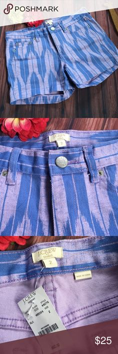 """J. Crew Factory Purple Ikat Stretch Denim Shorts 2 NWT, no flaws.  Such a cute print for summer! 🌞  Waist: 15 1/2"""" Uprise: 8"""" Inseam: 4"""" Material: 99% cotton, 1% spandex Brand: J. Crew Factory **All measurements are approximate**  If you have any questions, I'll gladly answer!  Dog friendly home 🐶🐶 