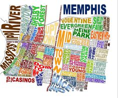 Memphis Tennessee Word Map Art. $25.00, via Etsy.