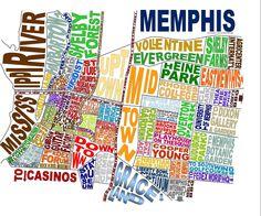 Memphis Tennessee Word Map Art. $25.00, via Etsy.