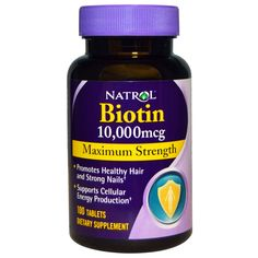 Natrol, Biotin, Maximum Strength, 10,000 mcg, 100 Tablets. Biotin is an important B-vitamin that provides dietary support for healthy hair and nails as well as energy production. 100% Vegetarian. Dietary Supplement