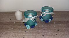 Duo de photophores mariage turquoises