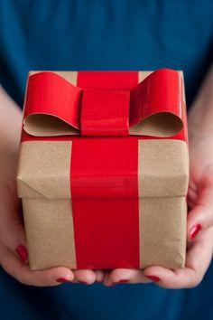 {DIY duct tape ribbon gift wrap}