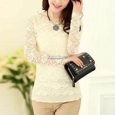 Blusa elegante feminina com manga longa de renda floral Stretch T-shirt Camisa casual blusa tops