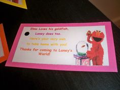 Elmo goldfish tags
