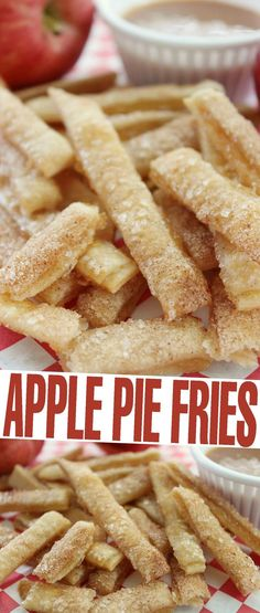 These Apple Pie Fries are a fun dessert that look like french fries but taste like apple pie! Kids will especially love this fun dessert recipe!