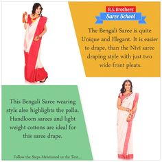 #SareeSchool The #Bengali Saree is quite unique and elegant. This saree drape is easier than the #Nivi saree draping style with just two wide front pleats. The #Pallu is wrapped around twice and traditionally the end is weighed down by a large key.  To know how to drape Bengali Saree Visit - http://goo.gl/ERfQtB