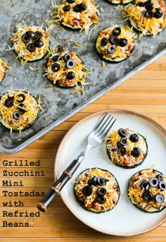 Recipe for Grilled Zucchini Mini Tostadas with Refried Beans; a fun way to use those giant zucchini that spring up overnight in the garden!  [from Kalyn's Kitchen] #MeatlessMonday #LowGlycemicRecipes
