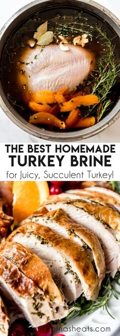 A great Turkey Brine Recipe is the difference between a good Thanksgiving turkey and a great one that people will be talking about for years to come. Knowing how to brine a turkey will make a huge difference in your bird whether you plan to roast it, smoke it, or deep-fry it! This quick and easy technique will ensure a deliciously juicy, moist turkey every time! #turkey #brine #wetbrine #turkeybrine #recipe #howto #best #easy #Thanksgiving #juicy #moist #overnight #homemade