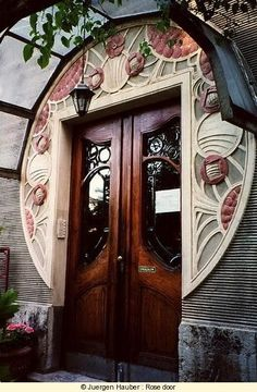 Art Nouveau - Art Deco Door, architecture, architectural design, buildings, architecture design idea and inspiration. the color of the doors Cool Doors, The Doors, Unique Doors, Entrance Doors, Doorway, Windows And Doors, Front Doors, Grand Entrance, House Entrance