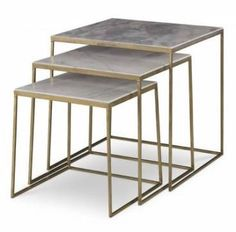 Santi Marble Topped Nesting Tables with Gold Finish Angled So That Each Top is 2